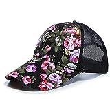 Kofull 2018nuovo donne maglia tappi fiore sole cappello da baseball sport Golf regolabile traspirante cappello trucker cappello da baseball, cappellino in rete Sunbonnet Outdoor, Nero