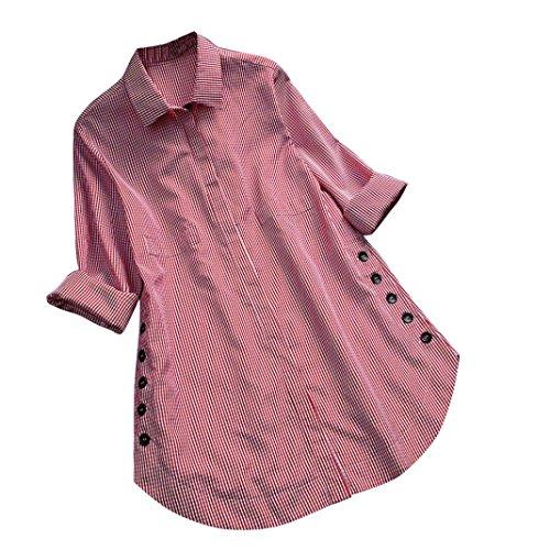 friendGG❤️❤️Damen Tops Langarm-Shirt mode Oberteil Elegantes Oberteil Lässiges T-Shirt Lockeres Oberteil Frau Frühling, Sommer und Herbst Oben Großes Top Kariertes Hemd Drucken Hemd