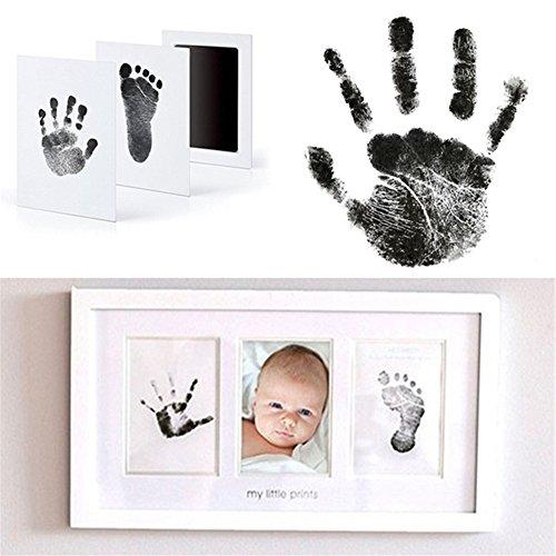 Samber Empreinte Bébé Encre Kit Print Frame Moulage d'Empreintes Handprint Main et Pied Cadeau pour Liste de Naissance Décoration Chambre