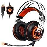 Sades A7 Sonido Envolvente 7.1 Virtual Auriculares Para Gaming De Diademas Cerrados Con Micrófono Y USB LED Vibración Para PC (Negro & Naranja)
