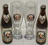Franziskaner Weissbier Vielfalt mit 2x0,5 L Bierflasche Weissbier und 2 Stück Gläser 0,5l