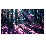 Wallario Herdabdeckplatte / Spritzschutz aus Glas, 3-teilig, 90x52cm, für Ceran- und Induktionsherde, Fantasie im Wald - Pinke Blumen in der Sonne