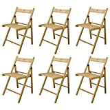 Harbour Housewares Silla Plegable - Madera - Natural - Pack de 6