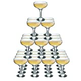 Rink Drink 4 Tier Champagne Turm Set - 30 Gläser - 200 ml Weinlese-Champagne Coupe Saucers