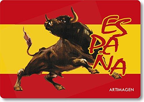 Artimagen Imán Bandera España con Toro Marrón 80x55 mm.