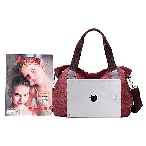 Damen Multifunktionen Canvas Handtasche Schultertasche Retro Stil große Kapazität für Party, Reise, Alltag, Arbeit Rot