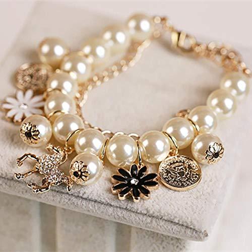 MUATE Mehrschichtige Simulierte Perle Perlen Armband Kristall Pferd Blume Charme Armreif Armbänder Für WJewelry