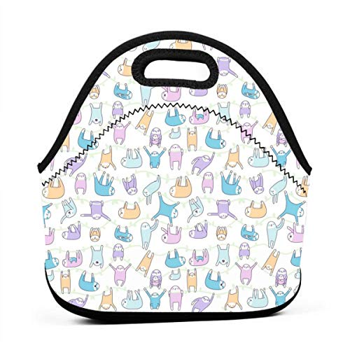 Faultier Muster Lunch Bag für Männer Frauen, auslaufsichere isolierte Kühltasche für die Arbeit, Schule, schwarz -