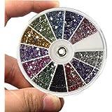 Tongshi 12 Color de 1,5 mm de uñas mixta de los brillos del arte del clavo del Rhinestone de las PC 2400