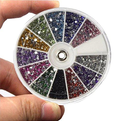 Tongshi 12 Color de 1,5 mm de uñas mixta de los brillos del arte del clavo del Rhinestone de las PC