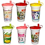 Kotak Sales® Kids Sipper Straw Lid Glass With Milk Juice Water Shaker 450ML Perfect Return Gift For Kids Birthday Party (6 Pcs)