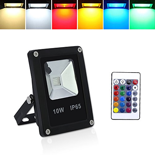 huigou HG® 10W RGB LED Fluter Außen Strahler Scheinwerfer mit Fernbedienung 16 Farben 4 Modi Garten Deko Auffahrt Garage Beleuchtung Outdoor Licht Stimmungslichter IP