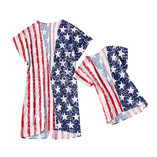Mutter und Tochter passende Kleidung Mama, ich Kind Mädchen Streifen Druck Sterne Familie Kleidung Kleid 4. Juli