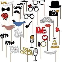 Disfraz Disfraces Accesorios de boda Photo Booth props de pájaros y corazones divertido DIY Kit para boda fiesta decoración (31piezas)