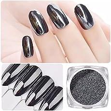 Techie-Geek Mirror Chrome Pigment Powder Dust Glitter Shimmer Nail Art Dipping Manicure UV Gel Polish (MG-03, Black)