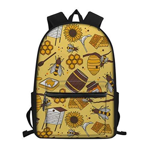 Chaqlin Rucksack mit Tierdruck, für Kinder, modischer Schäferhund, Muster, Büchertasche für Kinder Mehrfarbig Bee Floral Yellow Einheitsgröße - Bee Floral