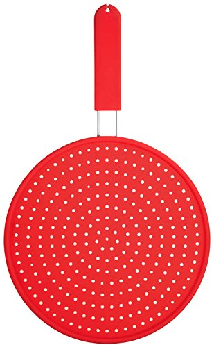 KitchenCraft Colourworks Silicone Splatter Screen, 28 cm - Red