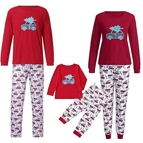 Riou Weihnachten Set Baby Kleidung Pullover Pyjama Outfits Set Familie Nachtwäsche Schlafanzug PJS Homewear für Kinder Eltern Jungen Mädchen Kleidung Outfits (L, Mom)