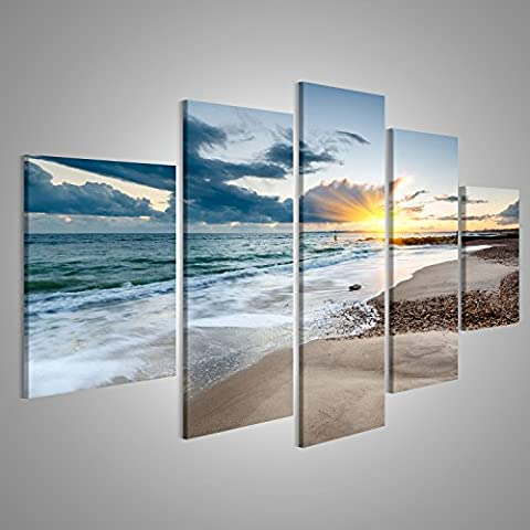 Canvas Wall Art Sunset at Solent Beach at Hengistbury near Bournemouth Picture Poster Large XXL Photo