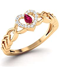 Solitaire House 18KT Yellow Gold, Diamond And Ruby Ring For Women