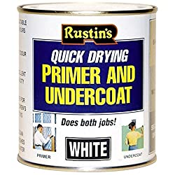 Rustins Quick Drying Primer & Undercoat White 250ml Bare Wood Plaster MDF Brickwork Cement Indoor Outdoor Higgh Opacity House Office