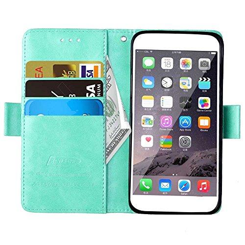 Voguecase® Pour Apple iPhone 6 Plus Plus/6s Plus 5.5 Coque, Étui en cuir synthétique chic avec fonction support pratique pour Apple iPhone 6 Plus (Filigrane-Beige)de Gratuit stylet l'écran aléatoire u Boucle latérale-Vert