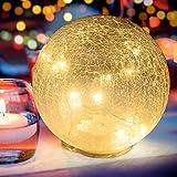 Boule Verre Craquelés Lumineuse LED Boule Verre Veilleuse Table Chevet Lumière d'Ambiance Luminaire Decorative de Chambre d'Enfants, Sejour, Maison, Jardin, Fete et Mariage