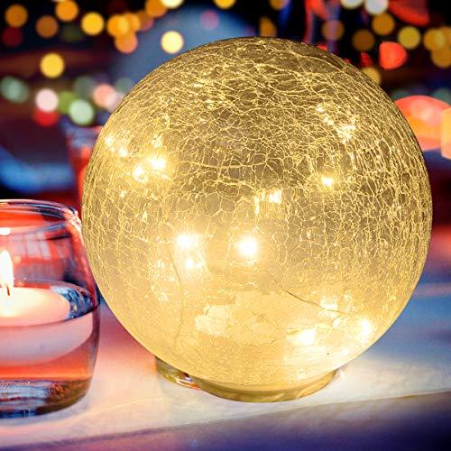 Lampara de Bola Cristal | Lampara LED de Bola Vidrio de Mesa |Luz Blan