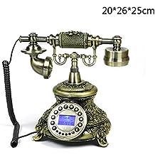 MMM- Teléfono antiguo europeo Retro teléfono fijo fijo con luz de fondo manos libres para mostrar el teléfono antiguo ( Color : Button handsfree version )