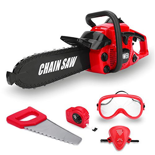 Kids Power Construction Tool Toy Chainsaw, Boys Pretend Play Toy Outdoor Lawn Tools Chain Saw Set for Toddlers