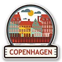2 x 10cm Copenhagen Vinyl Sticker Travel Luggage Suitcase Label Denmark #5887 (10cm x 10cm)