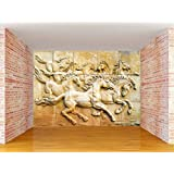 Envouge Customized 3D Wallpaper, HORSES SCULPTURE, Self Adhesive, 4ft X 3ft, 100% Washable, For Living Room/ Bedroom/ Kids Room/ Study Room