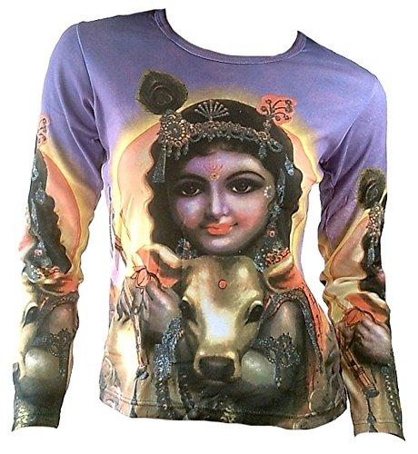 TICILA Damen Langarm T-Shirt Lila Hindu Deity Lord KRISHNA Avatar Wiedergeburt mit Kuh Psychodelic Goa Trance Dj Beach Party Kunst Art Religion Star Designer Vintage Tattoo Design L 42 -