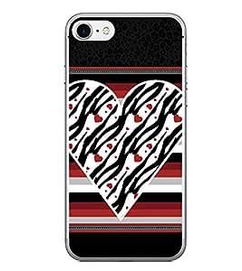 Fiobs Designer Back Case Cover for Apple iPhone 7 Plus (Heart Dil Black Romance Love Pyar Romantic Stripes)