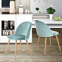 Sillas de comedor Coavas Soft Velvet Cushion Asiento y respaldo con estilo de madera Patas de metal resistente para sillas de comedor y sala de estar, Juego de 2 Aauq