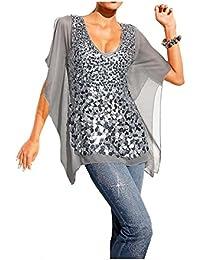 629 Mandarin Shirt Bluse Gr 34-44 mit Pailletten
