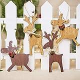 IsEasy Confezione 4 Renne Decorazioni Albero di Natale APPENDIBILI in Legno, Renna Decorazioni Natalizie Economiche in Legno, Renne Natalizie da Interno di Legno