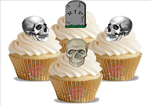 HALLOWEEN Friedhof Schädel Skelett Mix 12 essbare Standup Kuchen-Deko, Kuchendekorationen, essbar, Premium, 2 x A5, für 12 Bilder