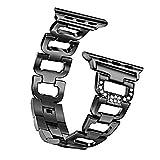 Chunyang Sport D Typ Strass Armband-Bügel-Edelstahl-Uhr-Gurt-Ersatz Blacelet Handgelenk-Ketten für iwatch