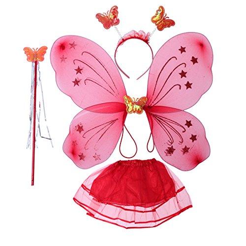LUOEM Kinder Mädchen Fee Kostüme Prinzessin Schmetterlingsflügel Stirnband Zauberstab Tutu Rock Party Kostüm 4-teiliges Set ()