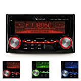 auna MD-830-BT  Autoradio  Car-Radio  Car-HiFi-Set  Bluetooth  USB-Slot  SD/MMC-Slot  UKW-Radiotuner  MP3  3,5mm-Klinke-AUX-Eingang  2 x Stereo-Cinch-Line-Ausgang  MOSFET-Verstärker 4 x 75 W max.  Freisprechanlage  Fernbedienung  schwarz