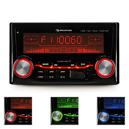 AUNA MD-830-BT - Autoradio, Car-Radio, Car-HiFi-Set, Bluetooth, USB-Slot, SD/MMC-Slot, UKW-Radiotuner, MP3, 3,5mm-Klinke-AUX-Eingang, 2 x Stereo-Cinch-Line-Ausgang, schwarz