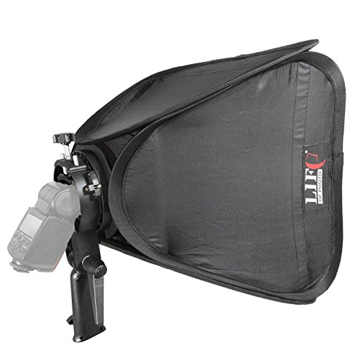 Portable Softbox 40x40cm Life of Photo faltbar mit S-Type Blitzhalterung Handgriff für Aufsteckblitz mit Tragetasche