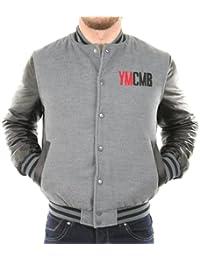 Solamode - Veste Teddy manches simili cuir - YMCMB - VE2220 - Fashion - Gris/Noir