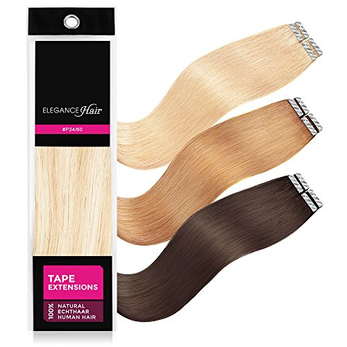 ELEGANCE-HAIR® Tape Extensions 8x 2,5g aus 100% Echthaar Haarverlängerung mit Klebeband 40cm Glatt #P24/60 - Hollywood Mix Blonde - Hollywood-Blond Gesträhnt