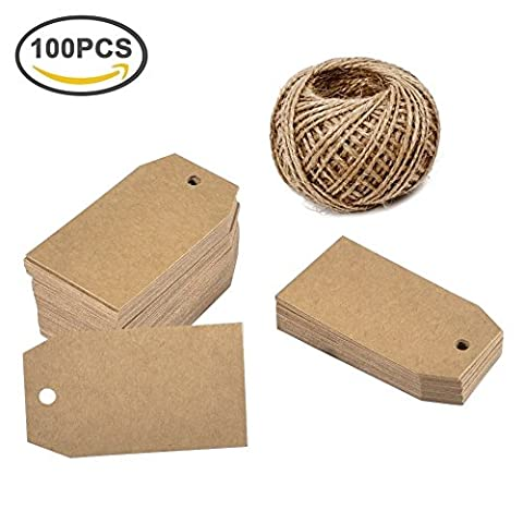 Giveet 100 PCS Kraft Paper Gift Tags with 30M Jute Twine, Bonbonniere Favor Hang Tags, Wedding Favor Thank You Cards, Christmas Favor Party Supply Blank Kraft Paper (Brown, Square