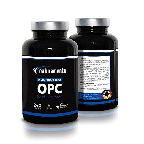 OPC Traubenkernextrakt 240 Kapseln Premium Qualität Vitamintabletten - Hochdosiertes OPC-Präparat 4-Monatspackung - Nahrungsergänzung vegan glutenfrei natürlich und hochdosiert - Wahre Kraft der Traubenkerne