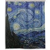 Cortina de ducha de baño 60x 72inch, noche estrellada de Van Gogh Masterpiece de pintura al óleo, tela de poliéster a prueba de moho cortina de baño