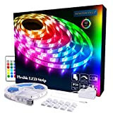 LED Strips Lights 5m [Newest 2019], RGB 5050 LEDs Colour Changing Kit with 24key Remote Control and Power Supply, Mood Lighting Led Strips for Home Kitchen Christmas Indoor Decoration
