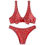 ZAFUL Damen Sexy Push-up Eintauchen Hals für Sommer Rot S